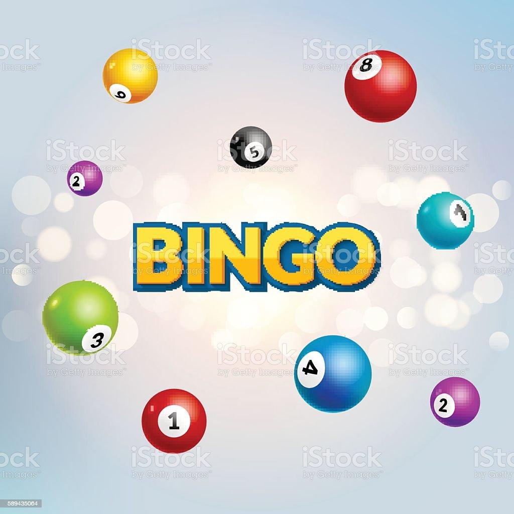 Bingo lottery poster. Balls numbers falling luck concept - ilustração de arte em vetor