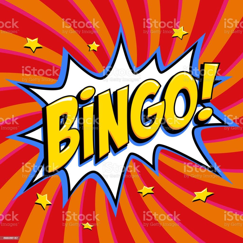 Cartaz de loteria de bingo. Fundo de jogo de loteria. Estilo de arte pop quadrinhos bang forma sobre um fundo vermelho trançado - ilustração de arte em vetor