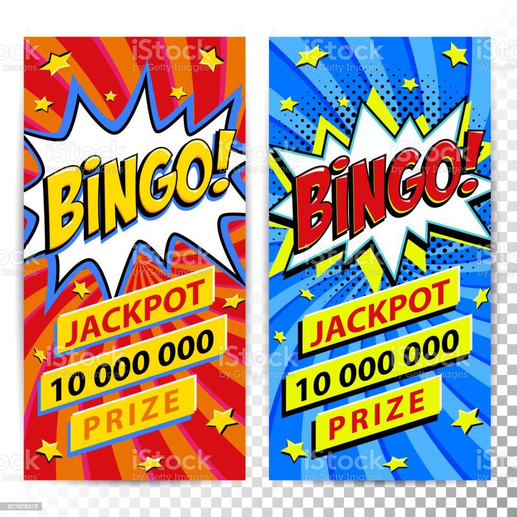 Banners de web do bingo loteria. Fundo de jogo de loteria. Estilo de arte pop quadrinhos bang forma sobre um fundo vermelho trançado. Ideal para banners web - ilustração de arte em vetor