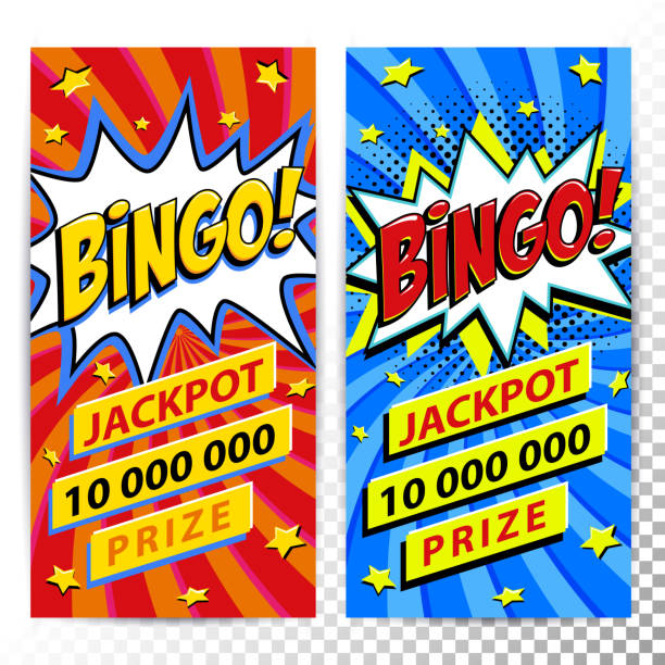 Bingo lottery web banners. Lottery game background. Comics pop-art style bang shape on a red twisted background. Ideal for web banners Bingo lottery web banners. Lottery game background. Comics pop-art style bang shape on a red twisted background. Ideal for web banners. Vector illustration. bingo stock illustrations