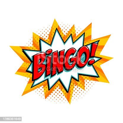 istock Bingo - lottery yellow vector banner. Lottery game background in Comic pop-art style 1286361649