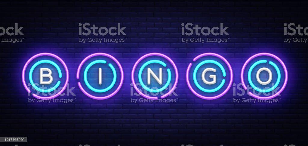 Muestra de neón del bingo vector plantilla de diseño. Lotto símbolos de logotipo de neón, luz banner diseño elemento diseño moderno colorido tendencia, publicidad brillante noche, signo luminoso. Ilustración de vector - ilustración de arte vectorial