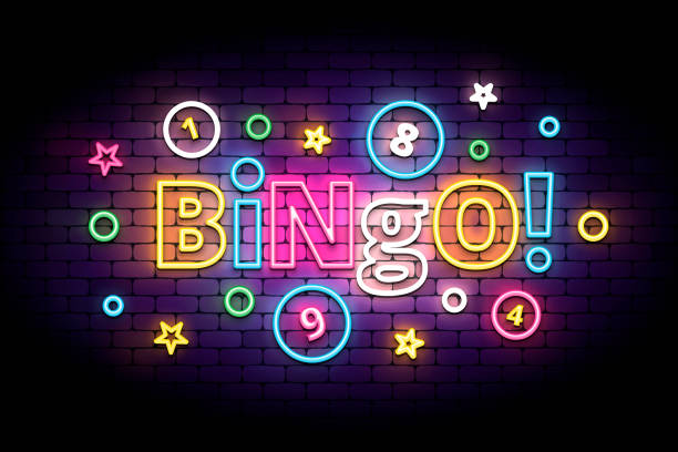 Bingo neon sign with lottery balls and stars. Bingo neon sign with lottery balls and stars. Colorful bingo lettering in glowing neon style. Vector illustration for the lottery. bingo stock illustrations