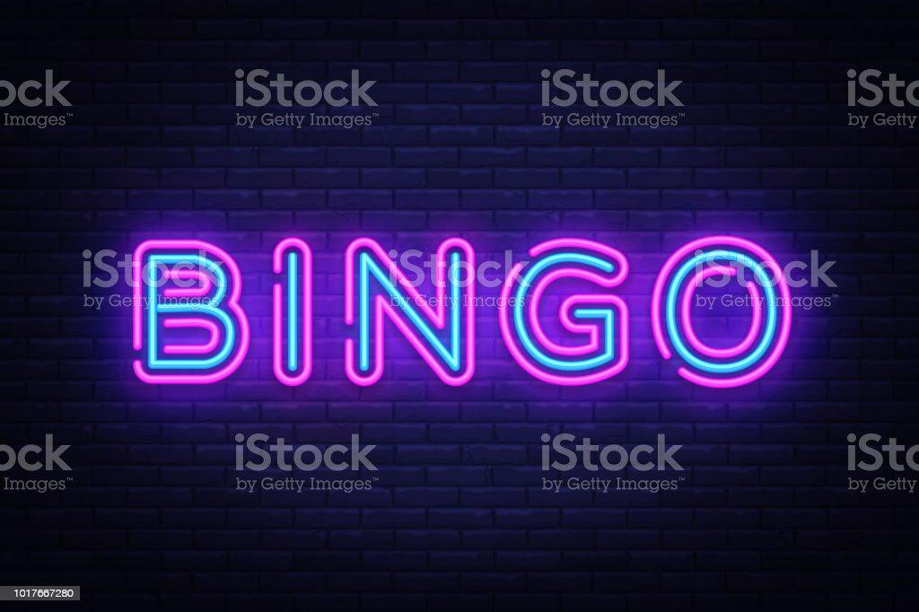 Texto de neón Bingo Vector. Lotería de neón, diseño plantilla de diseño de tendencia moderna, letrero de neón de la noche, publicidad brillante noche, bandera de la luz, luz de arte. Ilustración de vector - ilustración de arte vectorial