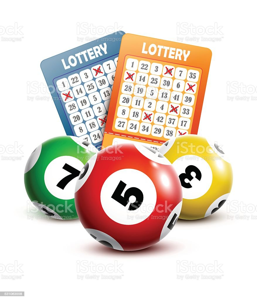Bingo or lottery balls and tickets. vector art illustration
