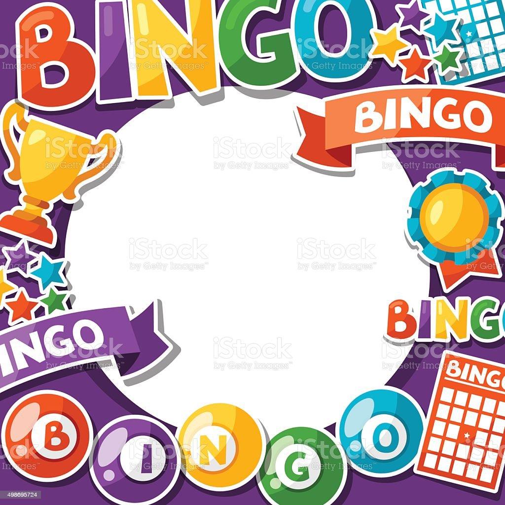 Bingo o de lotería Juego de fondo con pelotas y tarjetas - ilustración de arte vectorial