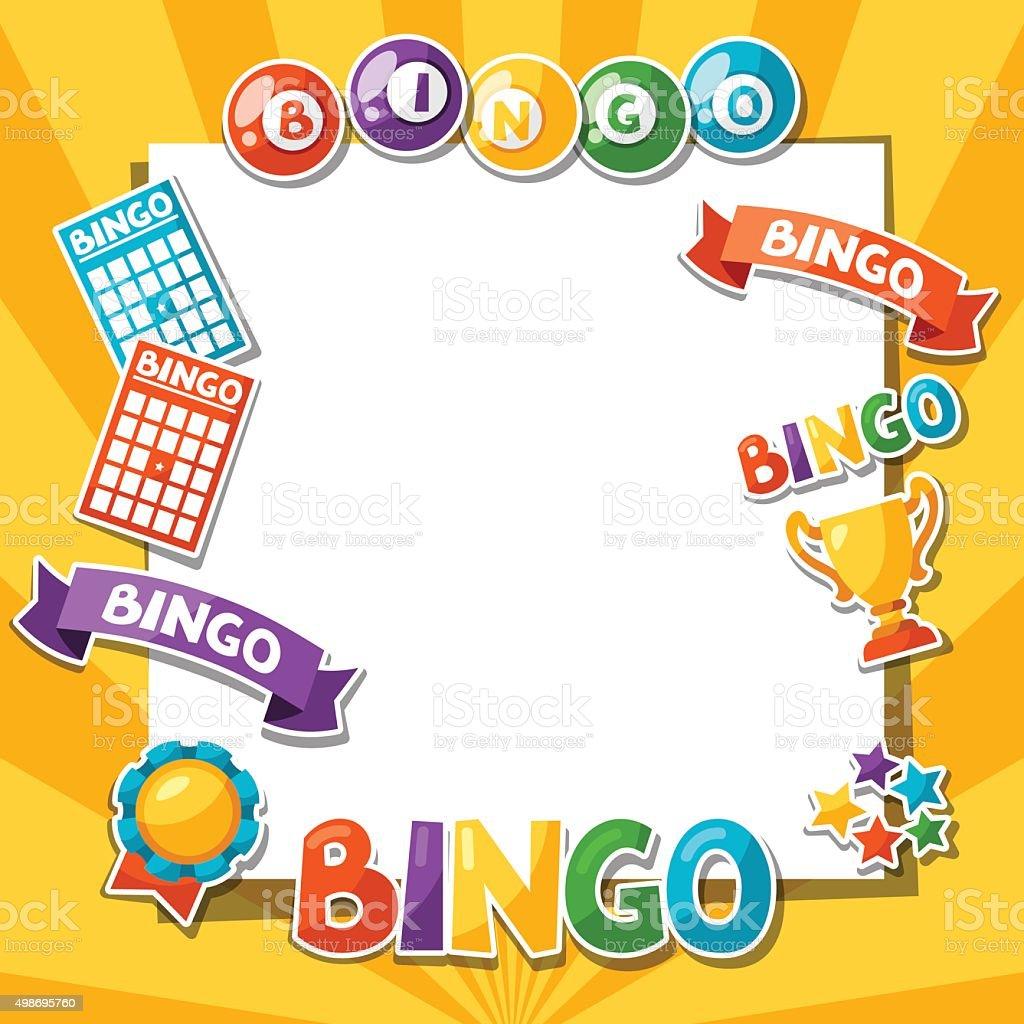 Jogo de Bingo ou Loteria fundo com bolas e cartões - ilustração de arte em vetor
