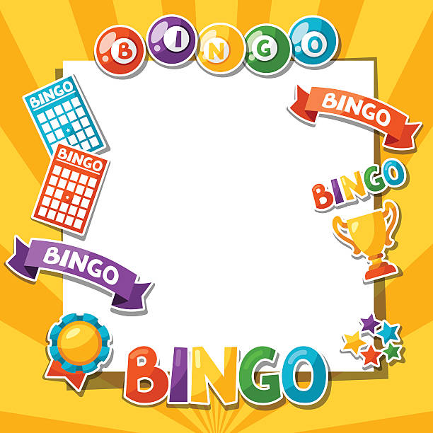 Bingo or lottery game background with balls and cards Bingo or lottery game background with balls and cards. bingo stock illustrations