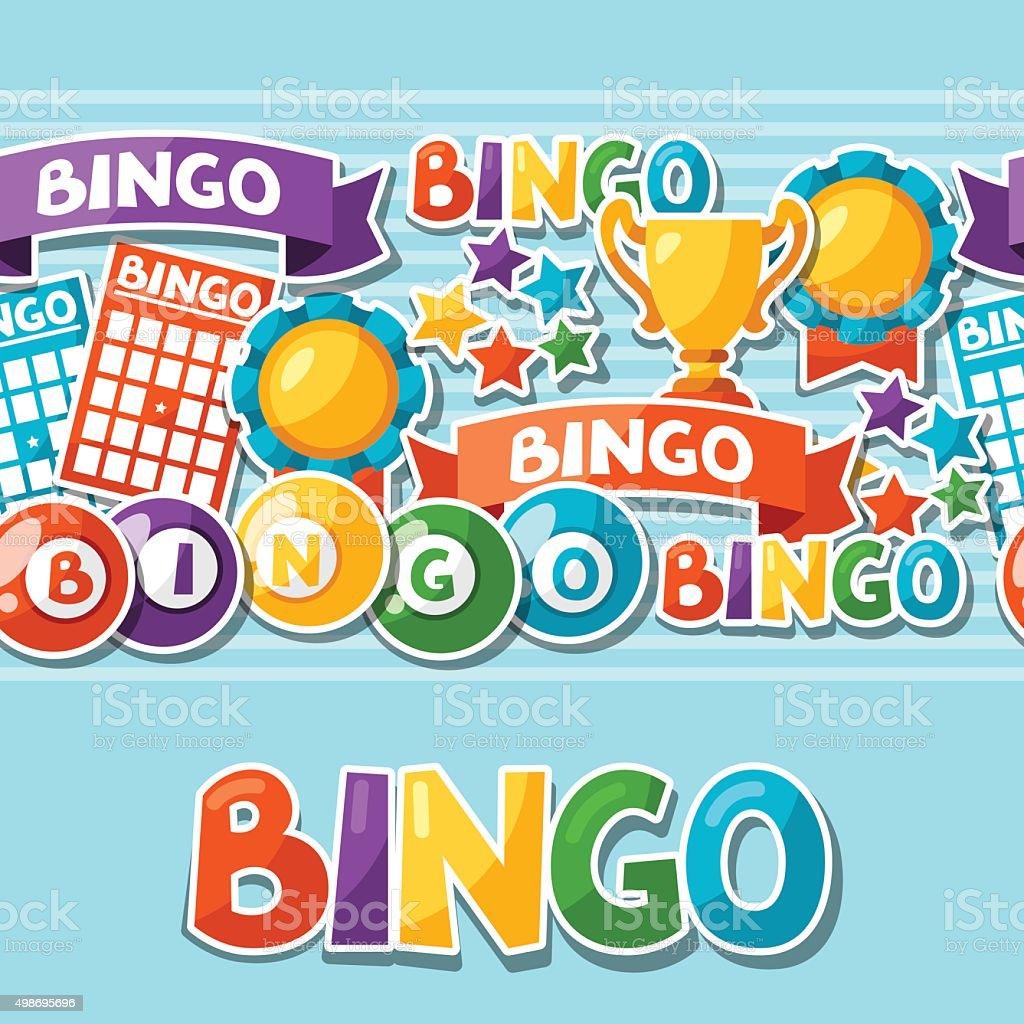 Bingo o lotería partido patrón con pelotas, tarjetas - ilustración de arte vectorial