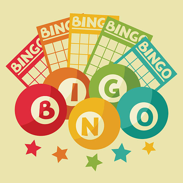 Bingo or lottery retro game illustration with balls and cards Bingo or lottery retro game illustration with balls and cards. bingo stock illustrations