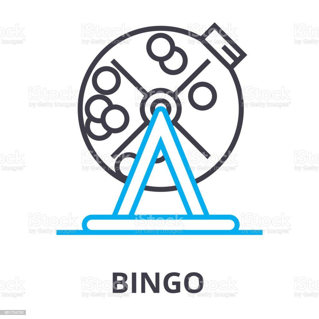 Bingo delgada línea icono, signo, símbolo, ejemplares, concepto lineal, vectores - ilustración de arte vectorial
