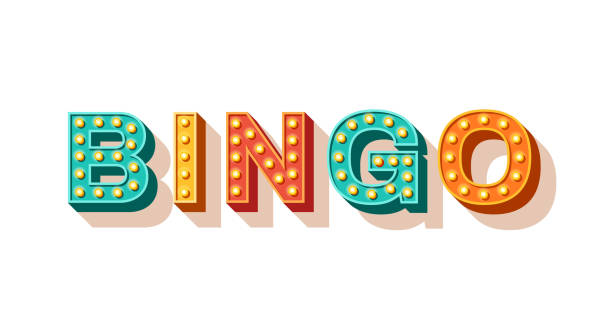 Bingo vector typography Bingo vector typography. Lottery retro glowing lettering. Game of chance and casino concept. Sparkly 3d signboard with neon light bulbs. Vintage volumetric letters isolated on white background bingo stock illustrations