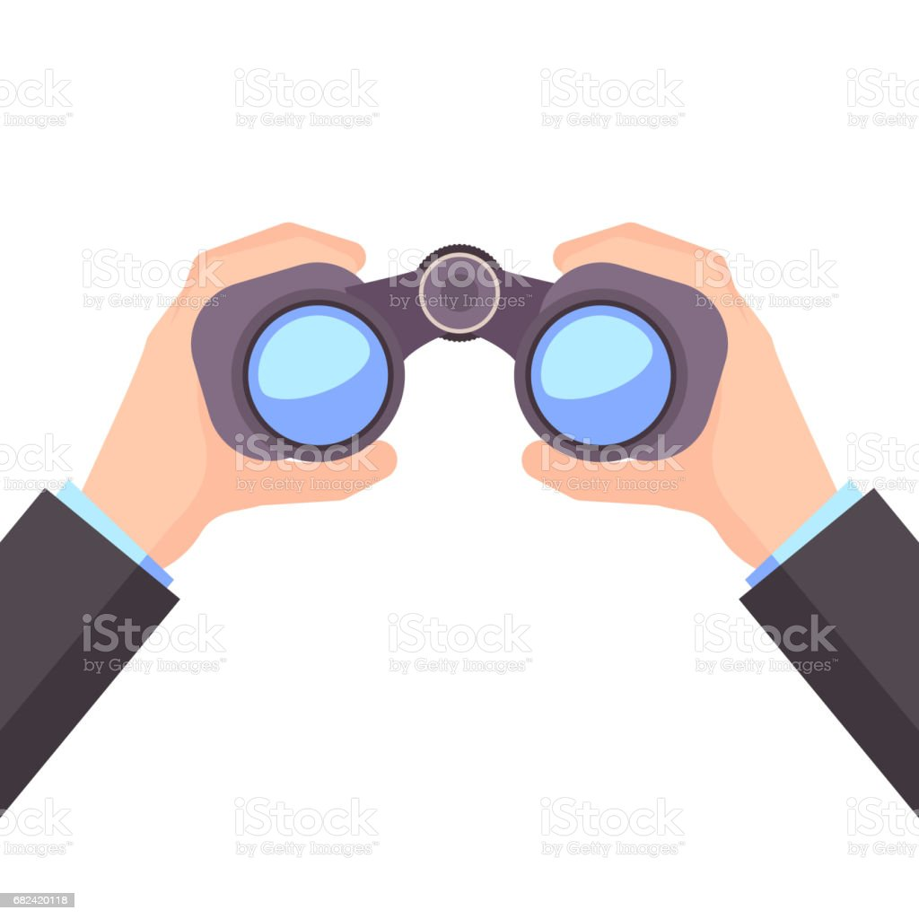 Binocular in Hand, Business vision, vector royalty-free binocular in hand business vision vector stock vector art & more images of arts culture and entertainment