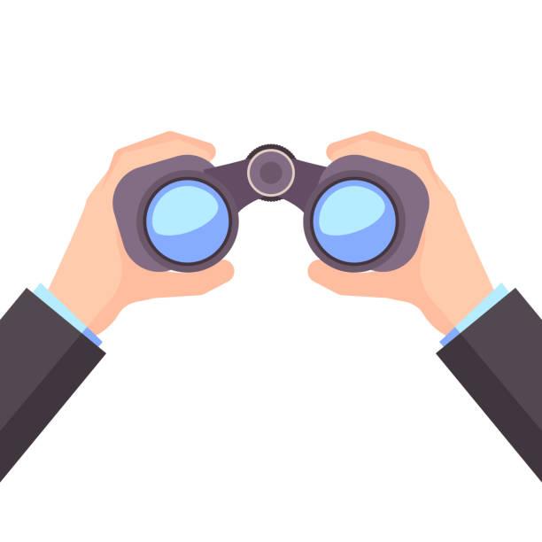 Binocular in Hand, Business vision, vector vector art illustration