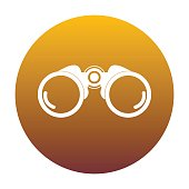 Binocular sign illustration. White icon in circle with golden gr
