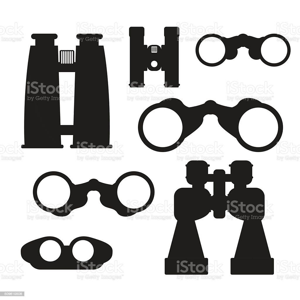 Binocular vector set. Zoom tool equipment military illustration. vector art illustration