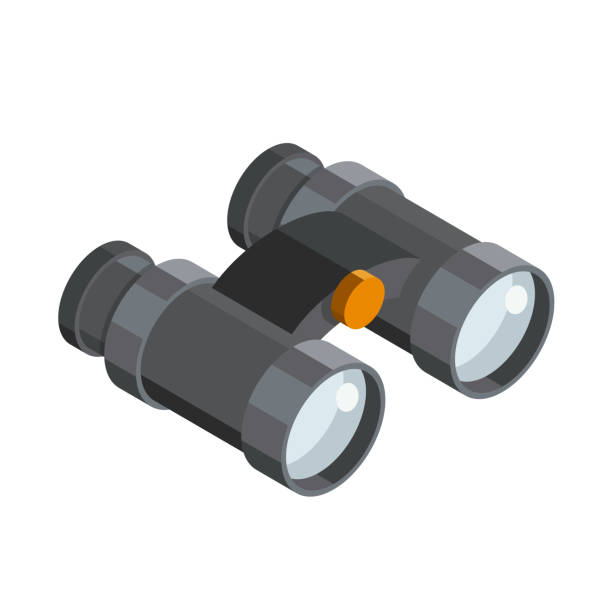 Binoculars 3D isometric icon Binoculars 3D isometric icon binoculars stock illustrations