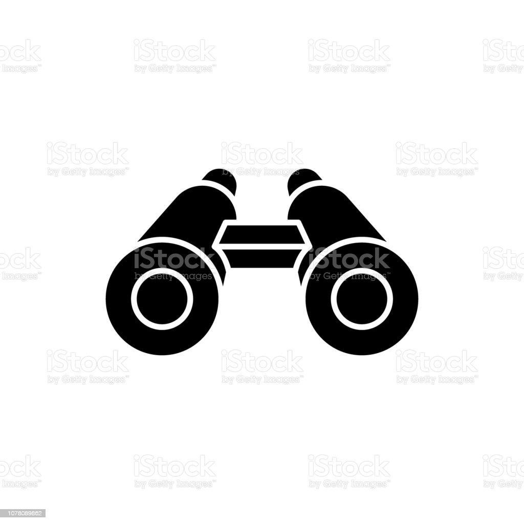 Binoculars black icon, vector sign on isolated background. Binoculars concept symbol, illustration vector art illustration
