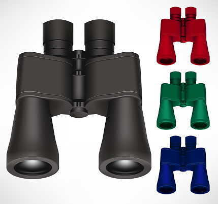 Binoculars Different Color Set 3D Realistic Design In Isolated Background For Traveler and Tourist