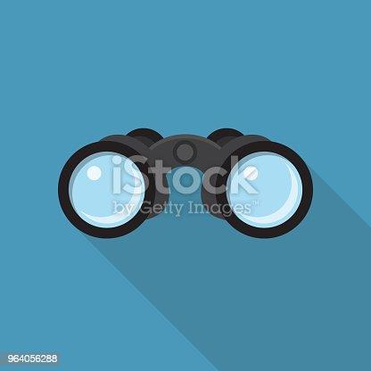 Binoculars Flat Design with Long Shadow