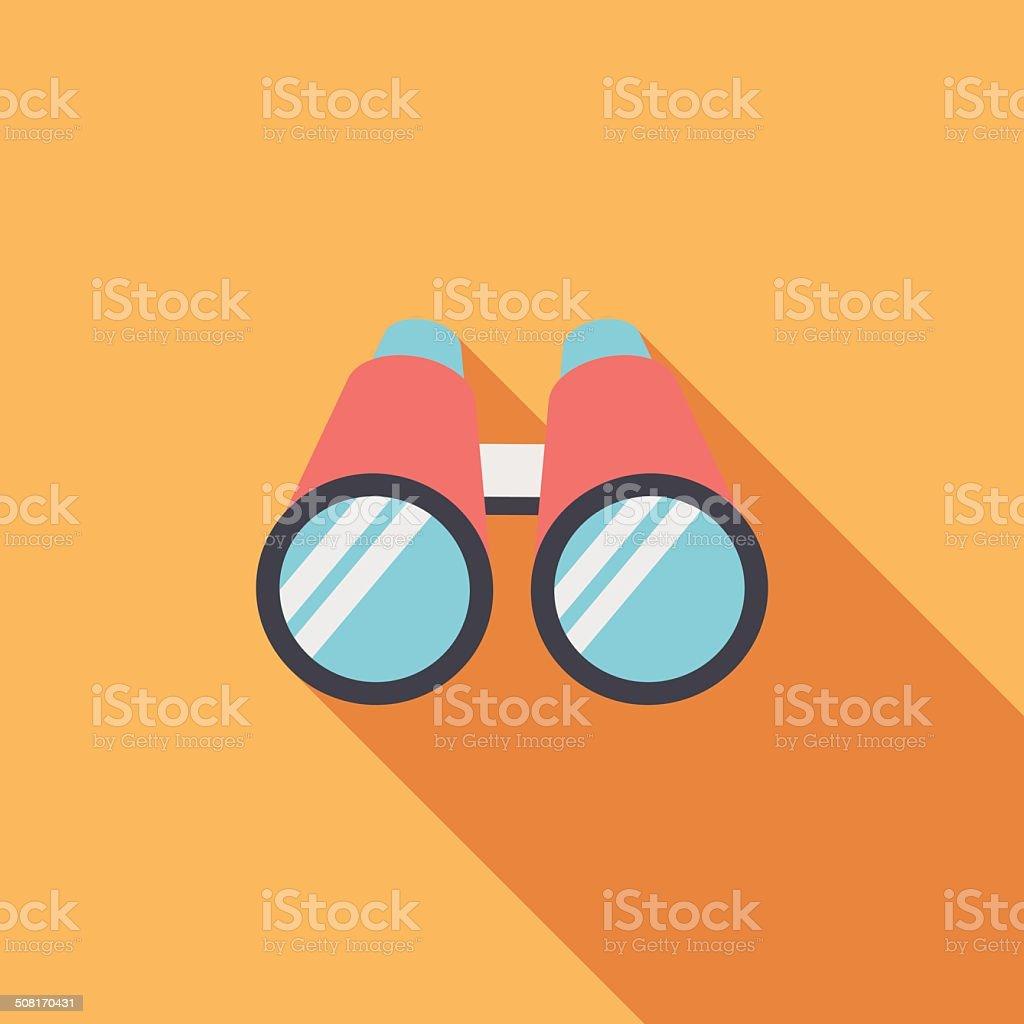 Binoculars flat icon with long shadow vector art illustration