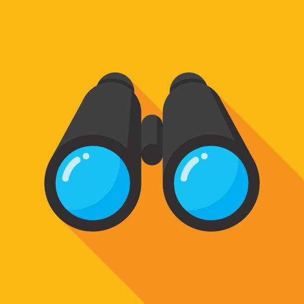 Binoculars Front Icon Flat Vector illustration of a pair of binoculars against a yellow background in flat style. binoculars stock illustrations
