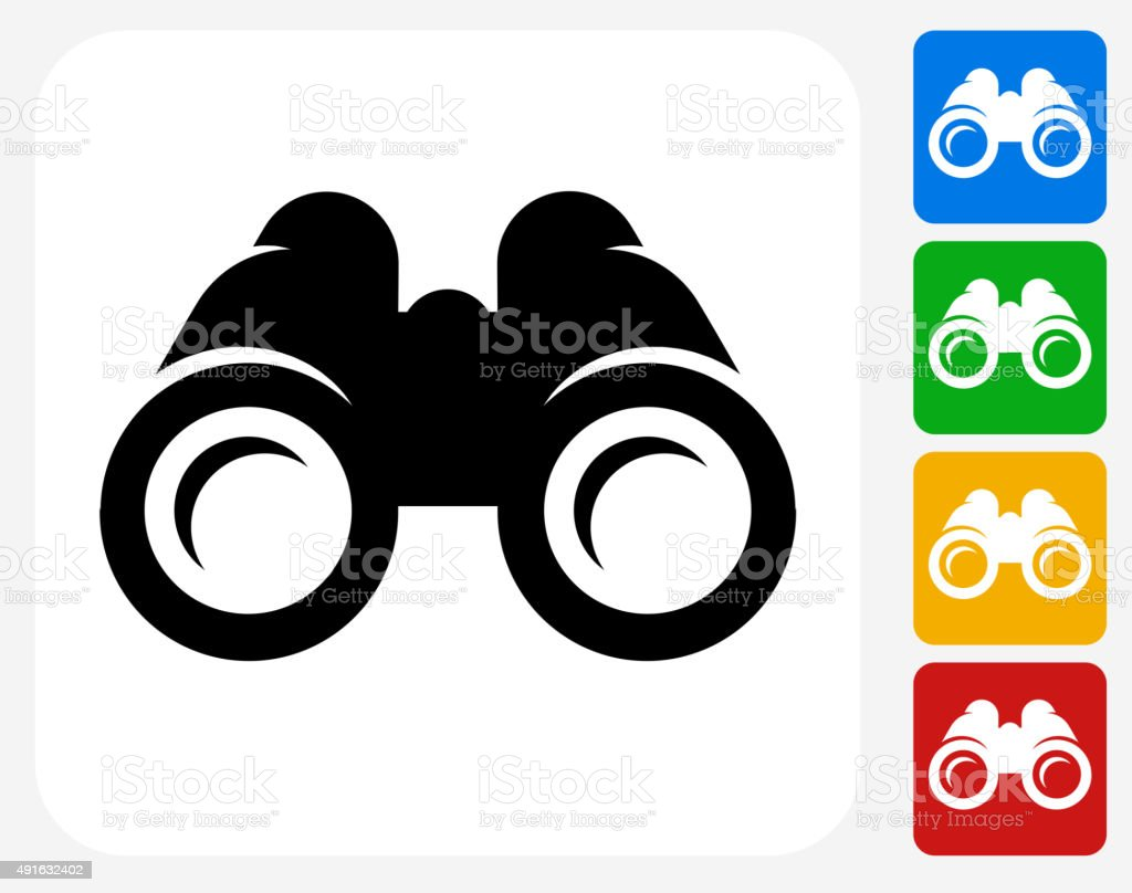 Binoculars Icon Flat Graphic Design vector art illustration