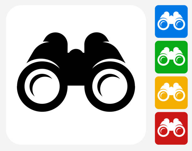 Binoculars Icon Flat Graphic Design Binoculars Icon. This 100% royalty free vector illustration features the main icon pictured in black inside a white square. The alternative color options in blue, green, yellow and red are on the right of the icon and are arranged in a vertical column. binoculars stock illustrations