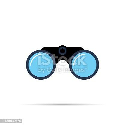 Binoculars icon symbol flat style with shadow. Simple design