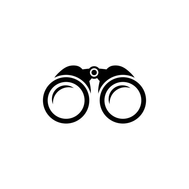 Binoculars icon, zoom vector symbol Binoculars icon in black. Simple zoom symbol in flat style isolated on white background. Simple binoculars vector abstract icon for web site design or button to mobile app. Vector illustration. binoculars stock illustrations