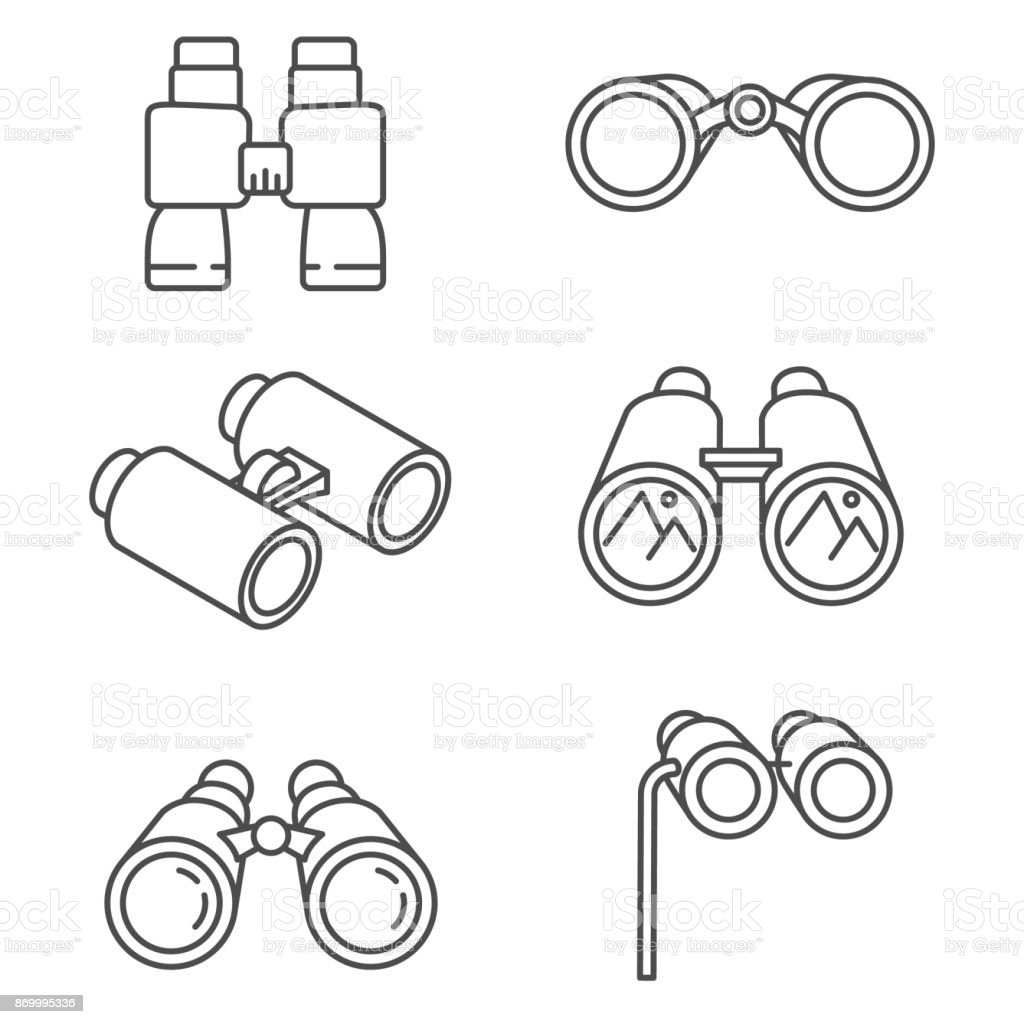 binoculars icons set. vector art illustration
