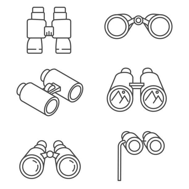 binoculars icons set. binoculars set. optical instruments, linear symbols collection binoculars stock illustrations
