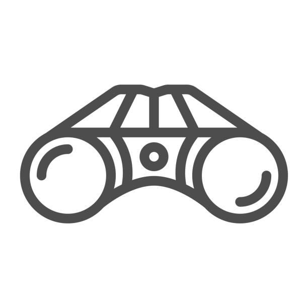 bildbanksillustrationer, clip art samt tecknat material och ikoner med kikare linje ikon, utrustning för golf koncept, kikare fältglasögon skylt på vit bakgrund, kikare enhet ikon i kontur stil för mobil och webbdesign. vektorgrafik. - investigating eye