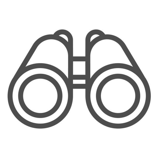 fernglas linie symbol, ozean konzept, binokular zeichen auf weißem hintergrund, meeresforscher optische sepermittel iktoristorischen instrument-symbol im umriss-stil für mobiles konzept und web-design. vektorgrafiken. - menschliches körperteil stock-grafiken, -clipart, -cartoons und -symbole