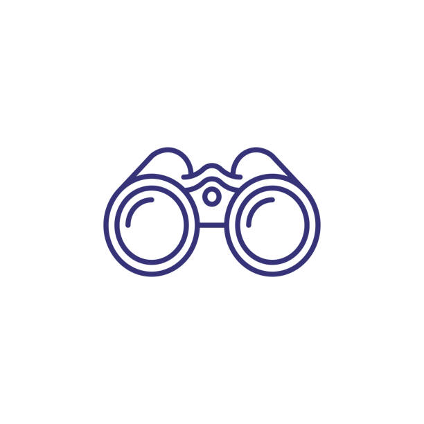 binoculars line icon - patrzeć stock illustrations
