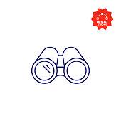 istock Binoculars Line Icon with Editable Stroke and Pixel Perfect. 1195873528
