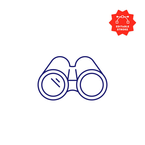 Binoculars Line Icon with Editable Stroke and Pixel Perfect. Binoculars Icon with Editable Stroke and Pixel Perfect. binoculars stock illustrations