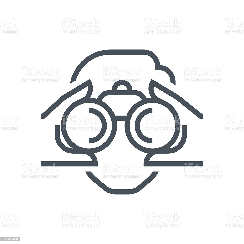 Binoculars, look icon vector art illustration