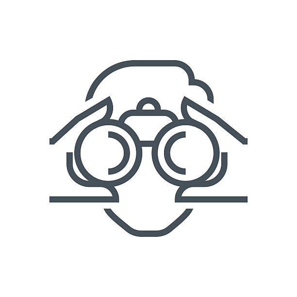 fernglas, look-symbol - forschungsurlaub stock-grafiken, -clipart, -cartoons und -symbole