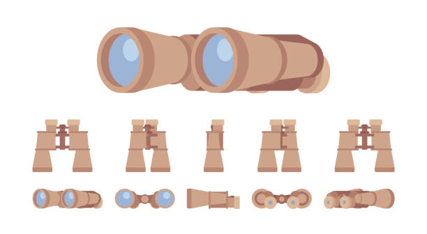 Binoculars optical instrument set Binoculars optical instrument set. Glass lenses for viewing distant objects, to make a prognosis, research future. Vector flat style cartoon illustration isolated on white background, different views binoculars stock illustrations