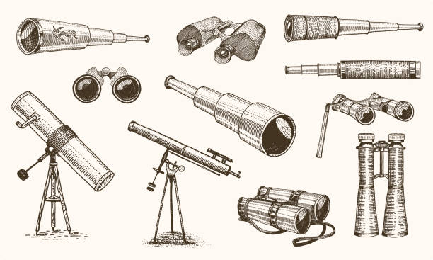 Binoculars or field glasses. Military set. vintage telescopes and optical equipment. engraved hand drawn old line icon. retro sketch style. Concept of active travel, exploration, discovery. Binoculars or field glasses. Military set. vintage telescopes and optical equipment. engraved hand drawn old line icon. retro sketch style. Concept of active travel, exploration, discovery binoculars stock illustrations