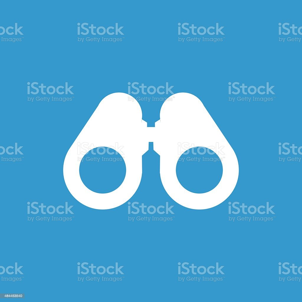 binoculars outline icon, isolated, white on the blue background vector art illustration