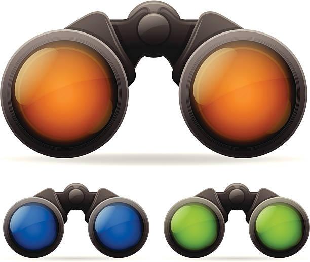 Binoculars Set of 3 detailed binocular illustrations.  low scale magnification stock illustrations