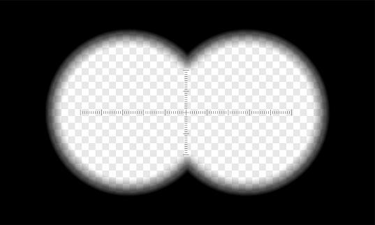 Binoculars view vector transparent circle lens