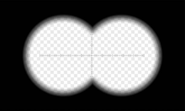 ilustrações de stock, clip art, desenhos animados e ícones de binoculars view vector transparent circle lens - visor digital