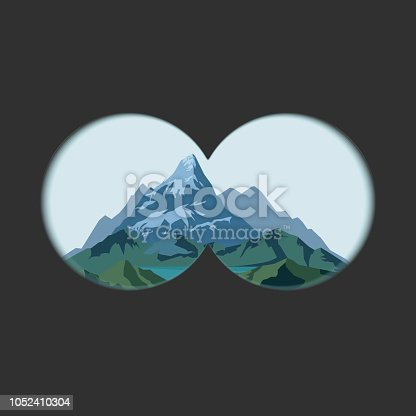 Binoculars view on mountains landscape. Optics with transparent soft edges lens and Measuring scale. Two circles with transparency fields. Vector