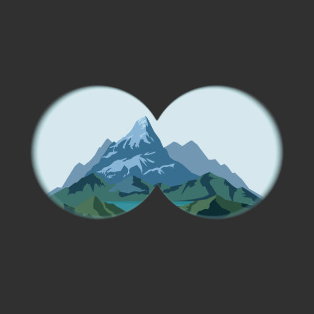Binoculars view with transparent lens and Measuring scale. Binoculars view on mountains landscape. Optics with transparent soft edges lens and Measuring scale. Two circles with transparency fields. Vector binoculars stock illustrations