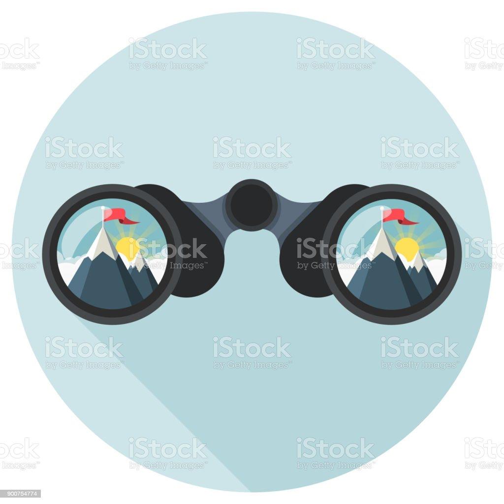 verrekijkers met topkruis Flat Designvectorkunst illustratie
