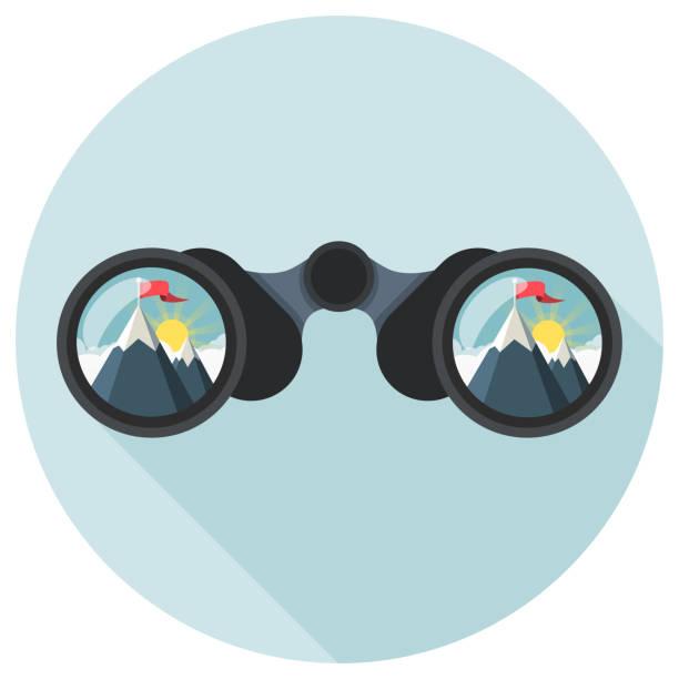 binoculars with mountain peak Flat Design vector art illustration