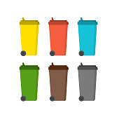 Bins for sorting waste in Flat design.
